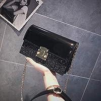 YangMi ハンドバッグ- レディースバッグのスパンコールの小さなスクエアバッグワイルドショルダースラングクラッチ3色(20 * 13 * 7センチメートル) (色 : 黒, サイズ さいず : 20x7x13cm)