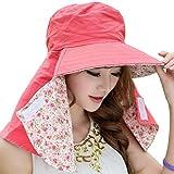 COCONUTS 日よけ帽子 日焼け防止 日よけカバー 紫外線対策 リバーシブル 綿100% (ピンク×ピンク系小花柄)