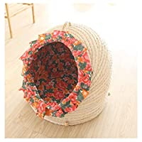 ペットの巣猫のトイレ砂わら犬の花の牧歌的な風の籐猫のトイレペットベッド織り洗える夏ペット犬小屋 (Size : S)