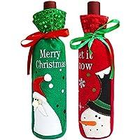 可愛い クリスマス ワインボトルバッグ カバー 2枚入り サンタクロースと雪だるま クリスマス装飾 ホテル レストラン ホーム パーティー 飾り物 ボトル カバー 赤ワイン/白ワイン クリスマスプレゼント ギフトバッグ 友達 記念日