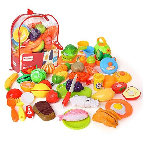Beebeerun おままごとセット 野菜 果物 キッチン お料理しましょう リアル 切れる 親子遊び おもちゃ 収納バッグ ごっこ遊び 子供 知育玩具 切る遊び オモチャ 児童館用品 誕生日 祝いプレゼント