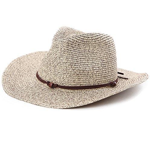 (シッギ)Siggi フリーサイズ カウボーイハット テンガロンハット パナマハット 中折れハット ストローハット 麦わら帽子 ハット 帽子 メンズ 春夏 おしゃれ UVカット ゴルフ あご紐 57cm 58cm 59cm コーヒーミックス