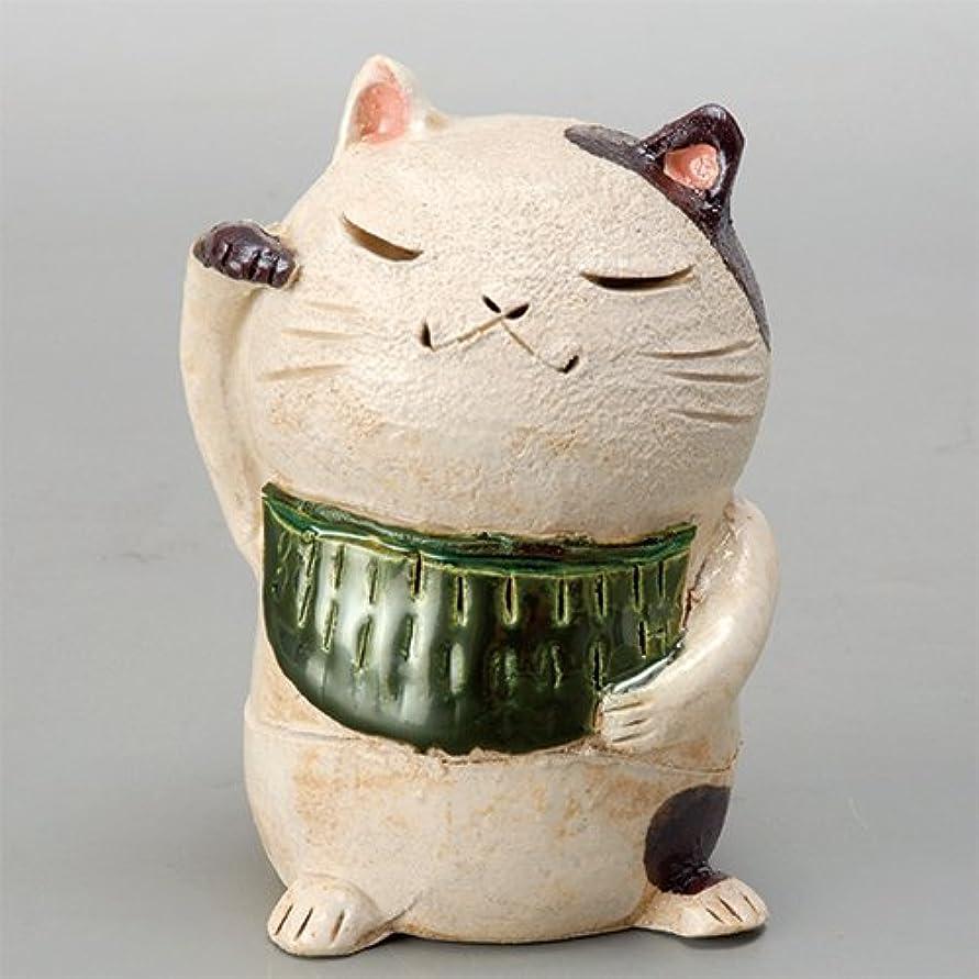 便利確立します留め金香炉 白萩 招き猫(お金)香炉(大) [H11cm] HANDMADE プレゼント ギフト 和食器 かわいい インテリア
