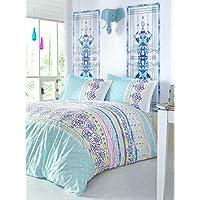 decomoodフローラル寝具、フル/クイーンサイズベッドスプレッド/ Coverletセット、花テーマ、3個、ブラウン