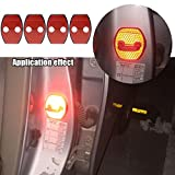 【Maidao】適合多数 トヨタ Toyota 汎用 ドア ロック ストライカー カバー Aタイプ+赤 高輝度 反射テープ 4枚 20系 アルファード ヴェルファイア 30系 プリウス ハリアー等