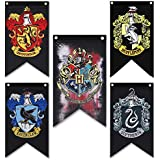 Harry Potter House Wall Banners Set - Hogwarts House Party Banners Flags Complete 5pcs Set Collection - Gryffindor, Slytherin, Hufflepuff, Ravenclaw Banner Set (50 inch * 30 inch)