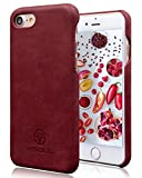 iPhone7 ケース カバー VISOUL 本革 携帯ケース 薄い型 軽量 便利 オシャレ (赤)