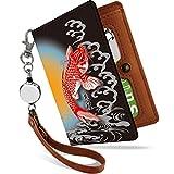 リール付きパスケース 和柄 和風 金運 開運 小判 二つ折り リール ストラップ パスケース ICカード入れ 定期入れ 鯉 黒 赤