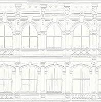 青写真 壁紙 ホワイト ブルー ブラック ゴールド クリーム アールデコ ヴィンテージ風 建築 手描き 美しいディテール