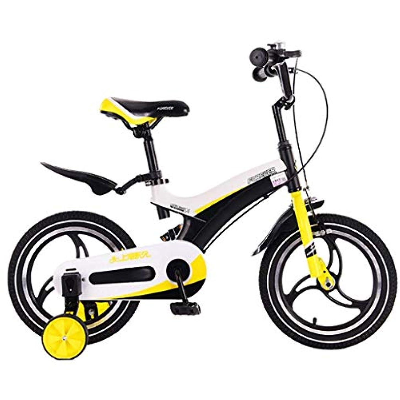 ピット武器粘着性自転車キッズアウトドア自転車パークキッズ自転車屋内ゲーム自転車サマートラベルプラムキッズ車両三輪車(色:黄色、サイズ:12インチ)