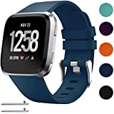 Silicone Replacement Sport Loop Strap Wrist Band for Fitbit Versa Fitness Watch Large