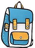 【SCGEHA】リュック 2D 二次元 アニメ まんが バックパック 不思議 おもしろい 男女兼用 大容量 まるでイラスト! (スカイブルー)