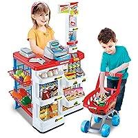 HJXDJP-シミュレーションのままごと遊びをするおもちゃ スーパーマーケットのレジのおもちゃ 子供のショッピングゲーム模擬音と光を持参して42x49x82 (赤)