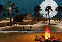 LFEEY 7x5フィート サハラ アラビアン 砂漠 背景幕 写真撮影用 美しいフルムーン 夜景 消防車 ヤシの木 キャメル シャンティ テント 写真 背景 フォトブース小道具