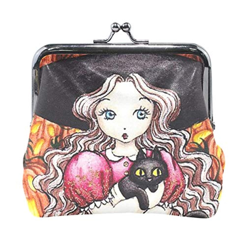 がま口 小銭入れ 財布 ハロウィン 魔女と黒猫 コインケース レザー製 丸形 軽量 人気 おしゃれ プレゼント ギフト 雑貨