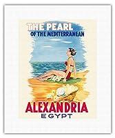 エジプト、アレクサンドリア - 地中海の真珠 - ビンテージな世界旅行のポスター によって作成された メナッサ・ラシャド c.1960s - キャンバスアート - 28cm x 36cm キャンバスアート(ロール)