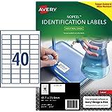 Avery NoPeel™ Labels for Laser Printers, Tamper-evident, 45.7 x 25.4 mm, 400 Labels (959230 / L6145)