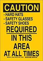 """Brady 124226個人用保護具サイン、凡例「 - ハード帽子 - 安全メガネ - 安全靴は常に必要」、高さ14""""、幅10""""、黄色に黒"""