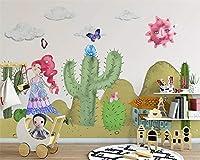 Bzbhart カスタム壁紙北欧漫画植物サボテン壁紙子供部屋背景壁壁画-200cmx140cm
