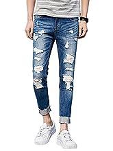 (ゆうや)YoYeah メンズ デニム パンツ ストレッチダメージ ジーンズ ストレートズボン blue 30