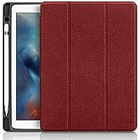 iPad Pro 10.5 ケース Apple Pencil収納 スタンド機能 iVAPO 10.5インチ iPad Pro 保護カバー シンプル 三つ折タイプ 全面保護型 傷つけ防止 iPad Pro10.5手帳型ケース PU 便利なペンホルダー付き New iPad Pro 10.5 Case 全3色 (iPad Pro 10.5, レッド)