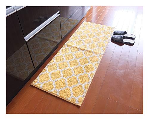 大一商事 キッチンマット エリプス 幅450×1800mm イエロー