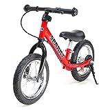 【RED】【キックスタンド付き】 ブレーキ付ゴムタイヤ装備 ペダルなし自転車 キッズバイク SPARKY バランスバイク (RED)