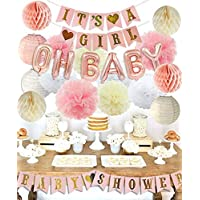 ベビーシャワー 飾り付け 可愛い パーティー デコレーション ピンク ローズゴールド バルーン 風船 バナー ペーパーフラワー 紙提灯 ハニカムボール 18枚セット