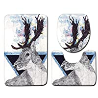 3 Pieces Bath Rug Set - Deer Printed Washable Non Skid Bathroom Mat Set - Including Bath Mat, Contour Toilet Mat, Toilet Lid Cover Rugs for Bathroom Decor
