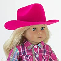 Hot Pink Cowgirl Doll Hat for the 46cm Doll Clothes for the Horse Riding American Girl & More 46cm Hot Pink Velvet Cowgirl Doll Hat w/Decorative Rope on Brim