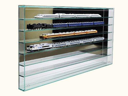 開閉に場所を取らない♪ フロントオープン式 Nゲージ 鉄道模型 コレクションケース 壁掛け固定棚タイプ