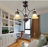 アメリカンカントリーリビングルームのシャンデリアレトロガーデン家具ベッドルーム照明地中海アイアンランプヨーロッパのシャンデリア ( 色 : 3ダウン )