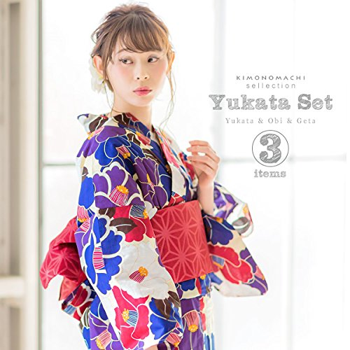 [ 京都きもの町 ] 女性浴衣3点セット 浴衣+帯+下駄 ブルー×パープル 椿 下駄フリーサイズ_GT-F_