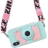 Lanjp iPhone X ケース 最新カメラ様子カバー カメラ型ケース カード/小銭入れ 多機能 スタンド可能 着脱簡単 3D立体的 高級感 シリコン 個性 ソフトケース 同じスタイルネックストラップ付き ファッション 衝撃吸収 落下防止 保護 可愛い カッコいい 緑+ピンク