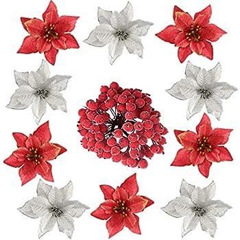 KUUQA 116PCS クリスマスツリー飾り オーナメント 造花 クリスマスリース 玄関 飾り ベリー