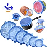 Silicone Stretch Lids,6 pcs Multi Size Reusable Containers Covers for Pots Cans Bowls Mugs and Mason Jars,Preserve Food,Dishwasher and Freezer Safe (Blue)