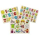Ourine パズル ジグソーパズル ブロック 型はめ グラブボード かわいい 木のおもちゃ 教育 簡単に把握 子供 赤ちゃん 知育玩具 知能開発 認識力を高める 形認識 幼児教育 贈物 3個セット