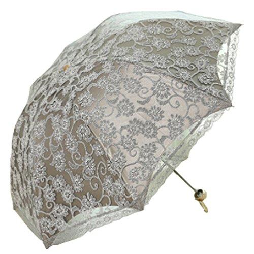 Godlovefull 折りたたみ日傘レース日傘二重張りUVカット花柄折り畳み晴雨兼用遮熱8本骨 菊(グレー)