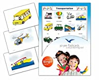 Transportation Flash Cards in English with Matching Bingo Game Cards in One Set - Vocabulary Picture Cards for Toddlers, Kids, Children and Adults - Size 4.13 × 5.83 in - DIN A6