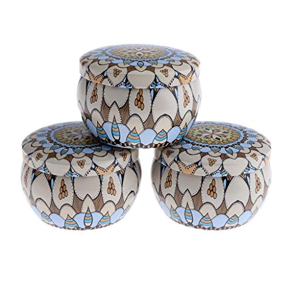 かもしれないアジアリサイクルするF Fityle 3個 キャンドル缶 DIY お茶 ジャー メタル ポット 化粧品詰替え容器 4タイプ選べ - D