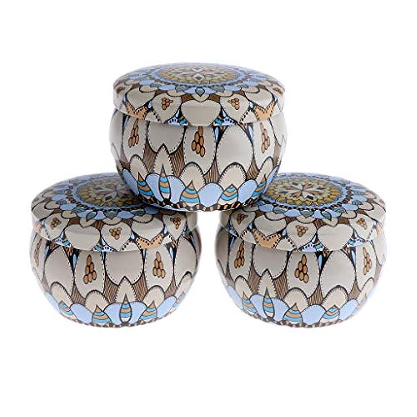 ミュート麻酔薬確認F Fityle 3個 キャンドル缶 DIY お茶 ジャー メタル ポット 化粧品詰替え容器 4タイプ選べ - D