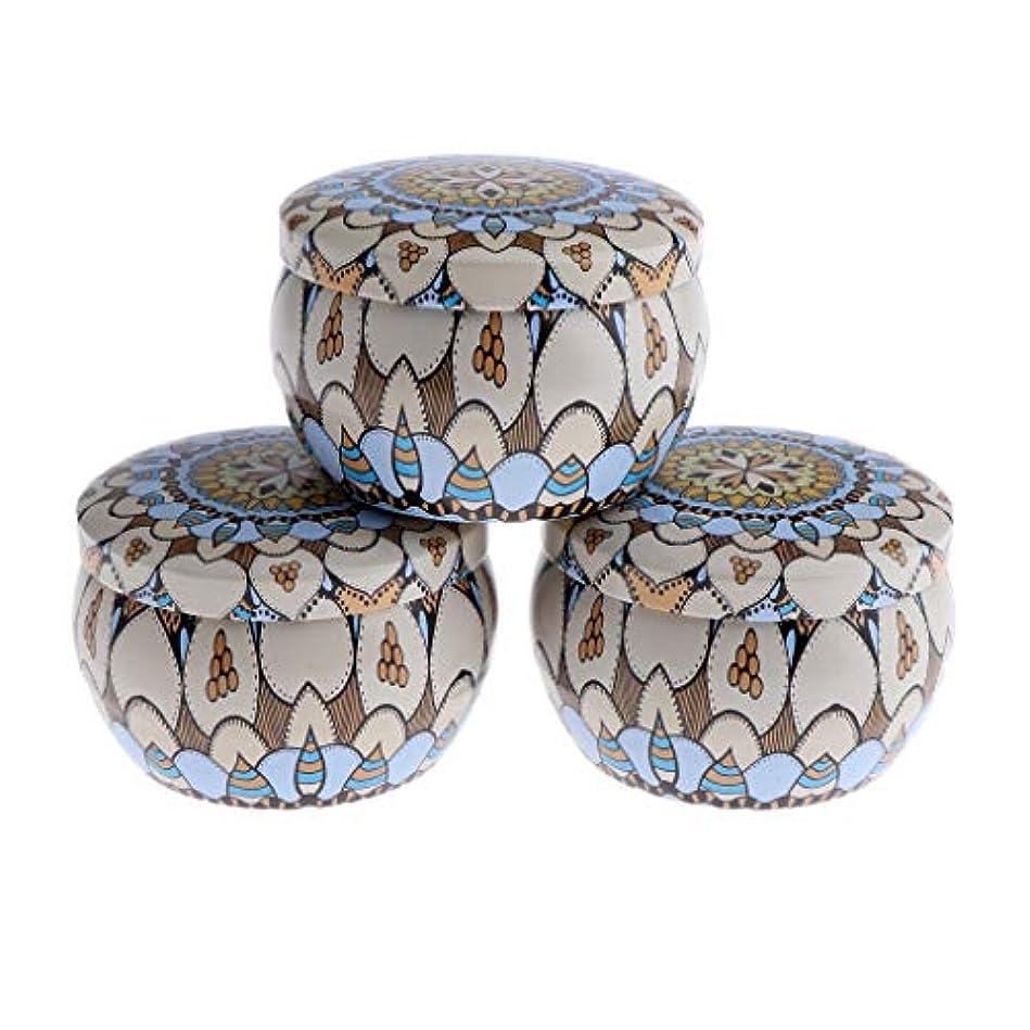 意図する不当船外F Fityle 3個 キャンドル缶 DIY お茶 ジャー メタル ポット 化粧品詰替え容器 4タイプ選べ - D