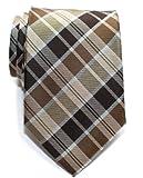 (リトリーズ) RETREEZ モダンスタイル タータンチェック マイクロファイバー 織り生地 メンズ ネクタイ - ブラウン