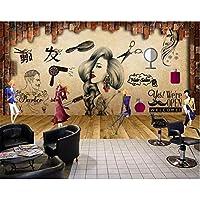 Xbwy サロンヘアーサロン美容院美容院レトロな化粧背景壁カスタム大フレスコ画壁紙-350X250Cm