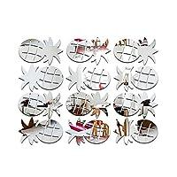 Kicode 12PCS /セット パイナップル 鏡 ウォールステッカーDIYクリエイティブマルチパックホーム壁画デカールアートデコレーション