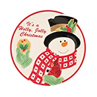 Holly Berry Snowman Collection, Cookie Plate, Red/White by Fitz and Floyd
