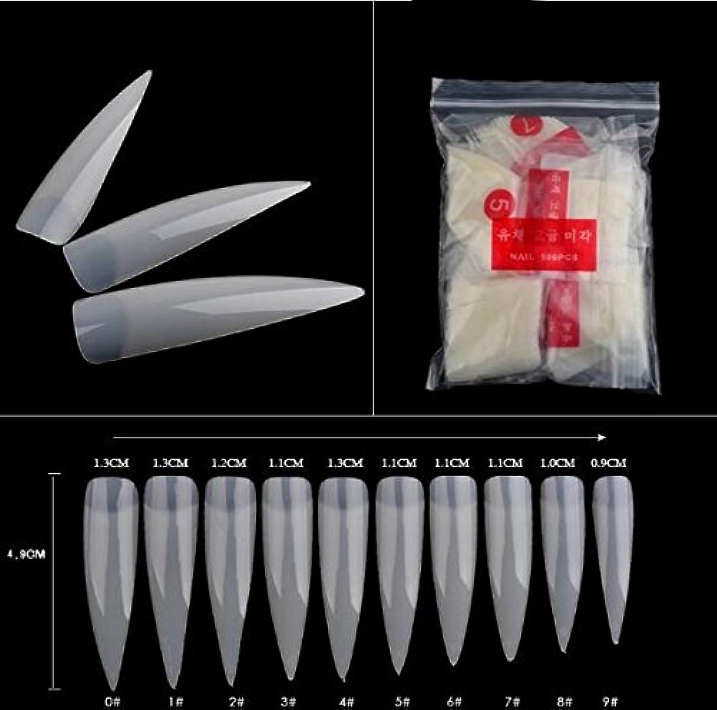 ほとんどの場合相続人陸軍500枚 つけ爪 無地 ロング ネイルチップ 爪にピッタリ 練習 10サイズ ネイルチップ エクステンションに適用なツール マニキュア ネイルアート ツール (ナチュラル) [並行輸入品]