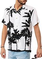 JIGGYS SHOP アロハシャツ メンズ 半袖 開襟シャツ オープンカラー 大きいサイズ 夏 無地 花柄 L ホワイトパーム