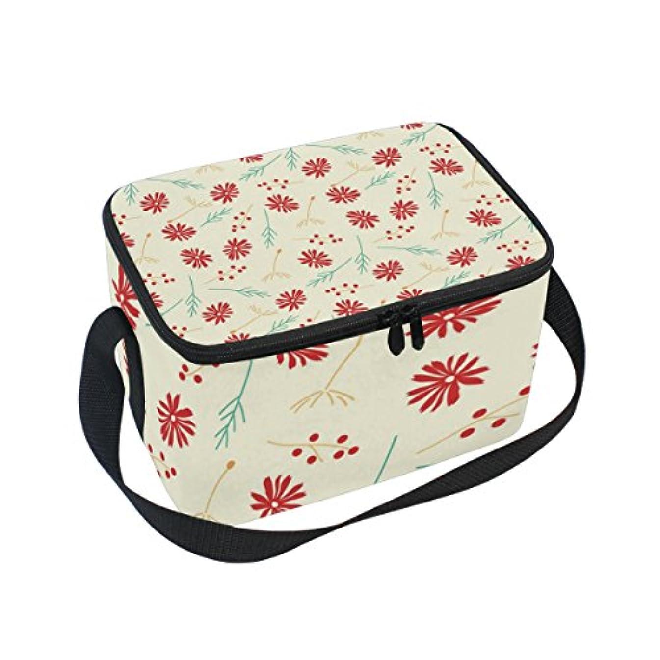 かもめ条件付きサーバントクーラーバッグ クーラーボックス ソフトクーラ 冷蔵ボックス キャンプ用品 赤小花柄 保冷保温 大容量 肩掛け お花見 アウトドア
