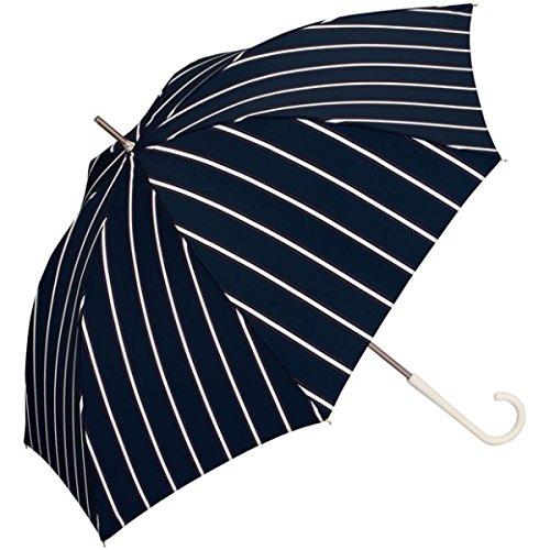 w.p.c(WPC) 【長傘】【軽くて丈夫で持ちやすい】アイビーストライプ (雨傘/レディース)【ネイビー/58】